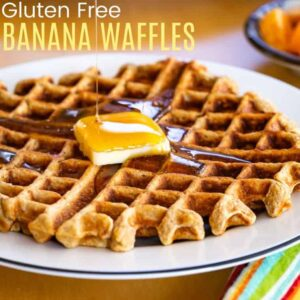 banana waffle with butter and syrup on top