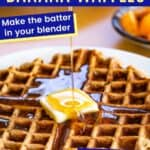 pouring syrup over a waffle with butter