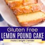 Slice lemon pound cake and a whole loaf
