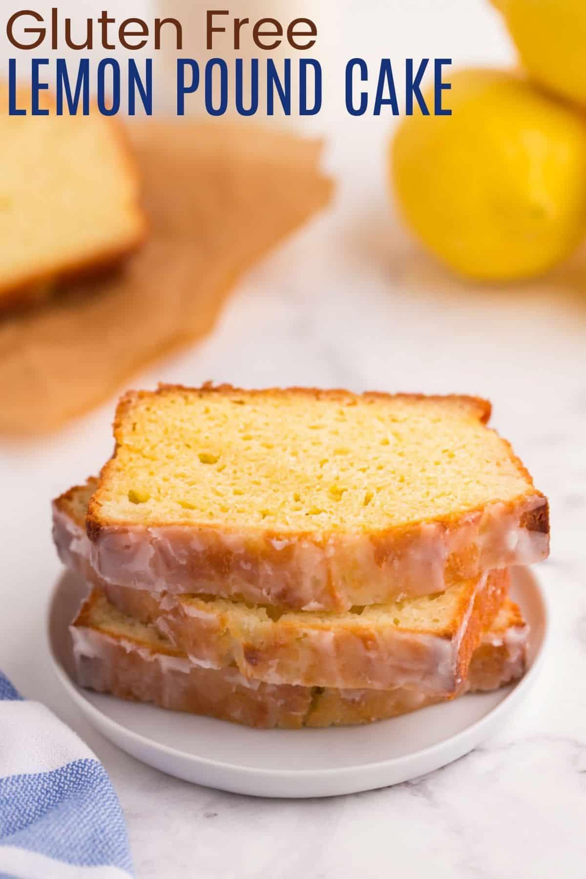 Sliced lemon loaf cake on a white platter