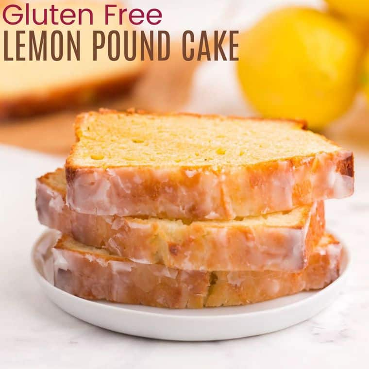 A stack of three slices of lemon pound cake on a white plate