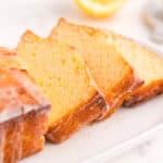 Sliced lemon loaf on a platter