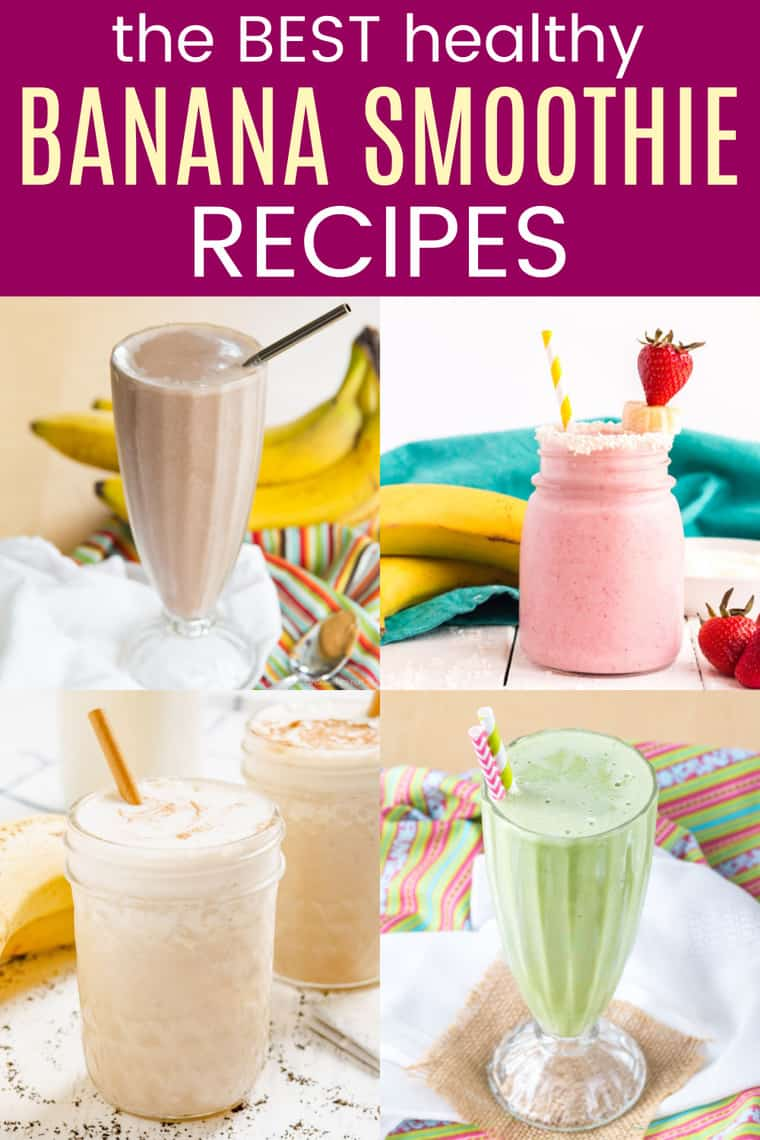 four different kinds of banana smoothies