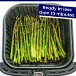 Roasted asparagus in an air fryer basket