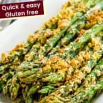 air fryer asparagus with a parmesan crumb topping