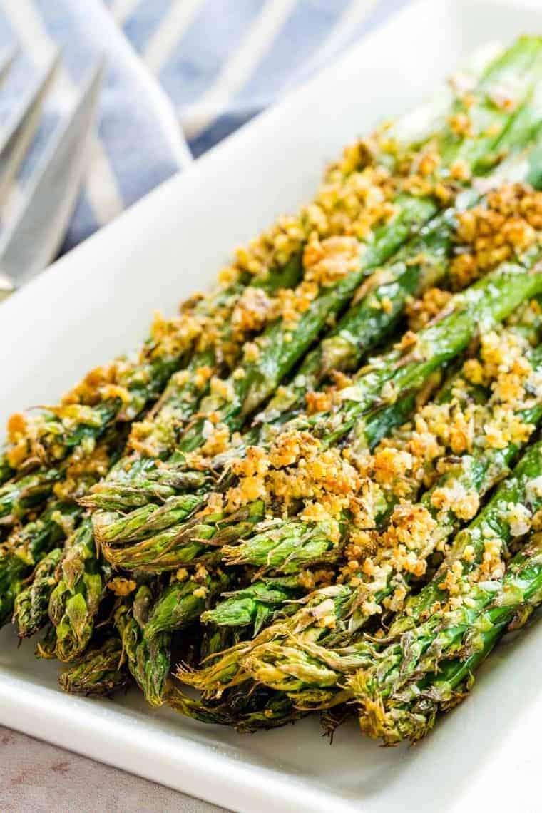 tips of roasted asparagus with parmesan crumb crust