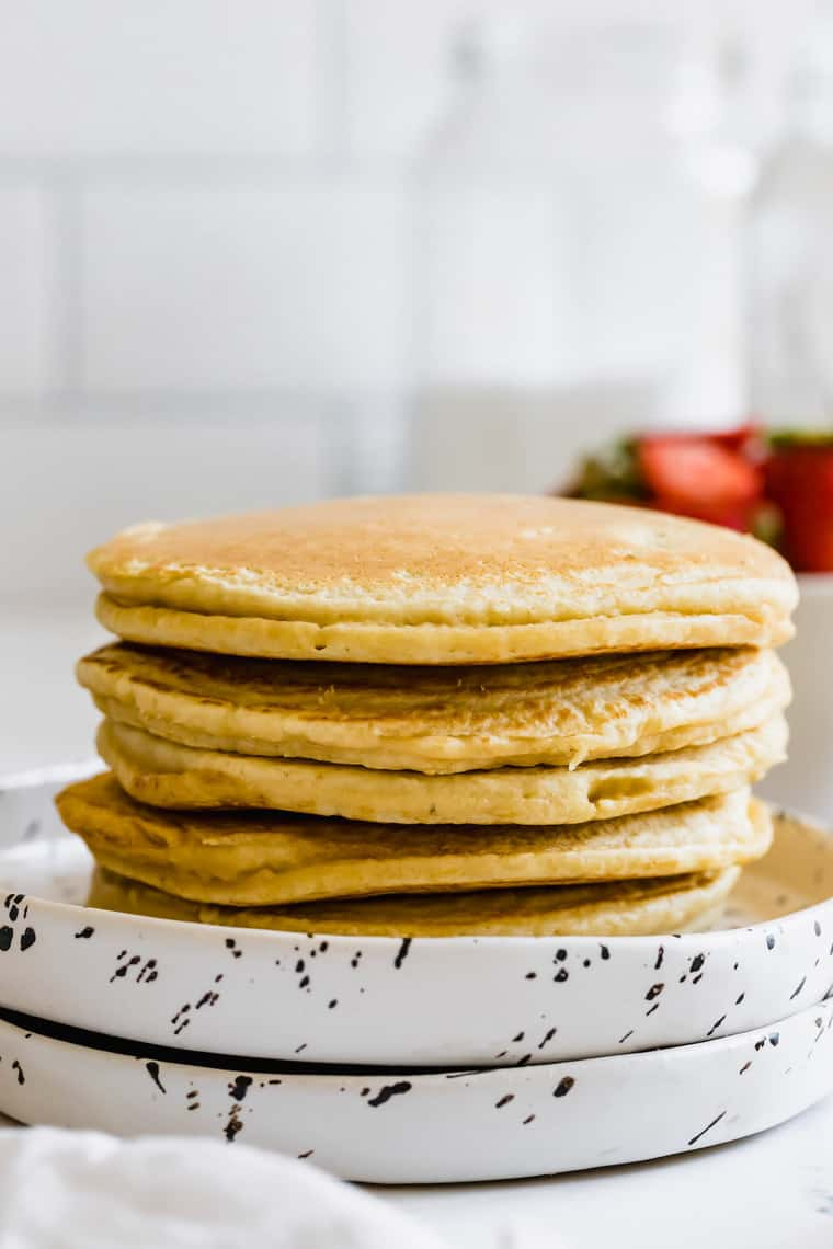 A Close-Up Shot of a Stack of Fluffy Almond Flour Pancakes