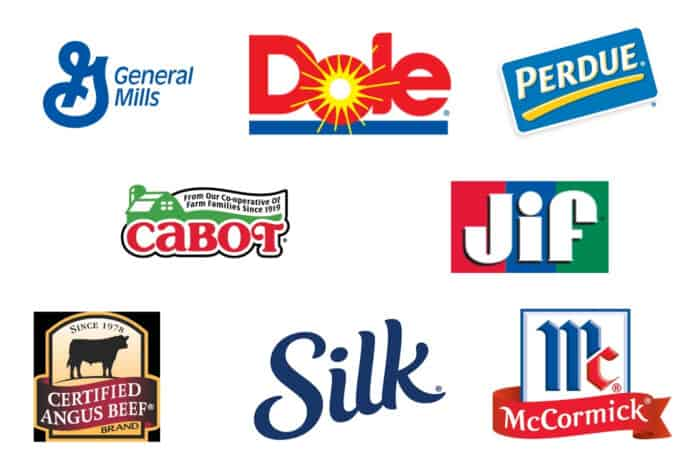 Brand logos for General Mills, Dole, Perdue, Cabot, Jif, Certified Angus Beef, Silk, and McCormick