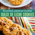 three dulce de leche cookies on a white plate and more on a slate platter