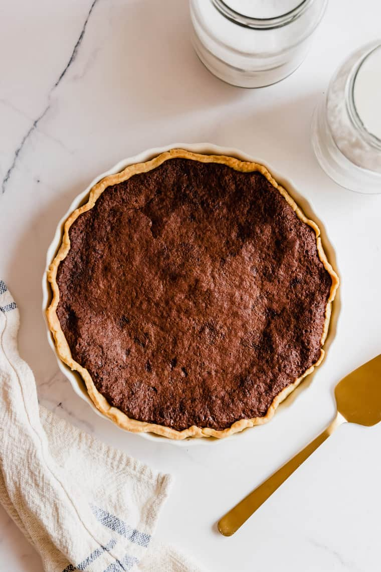 A Bird's Eye View of a Southern Chocolate Pie with Gluten-Free Pie Crust