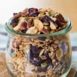 granola with mixed nuts, different dried fruits, pumpkin seeds, coconut, and oats