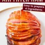 dripping maple glaze over a sliced boneless ham