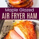 sliced ham in an air fryer basked and a meat fork holding a slice
