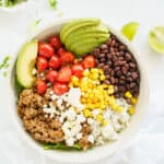 overhead from a beef burrito bowl with lots of toppings