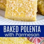 square of parmesan baked polenta on a plate and being lifted out of a baking pan