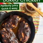 a cast iron skillet with three baked chicken breasts covered in barbecue sauce next to a jar of sauce