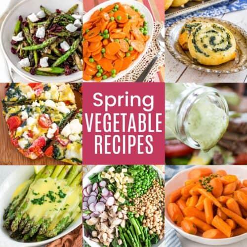 collage of pictures of parmesan crusted asparagus, spinach artichoke cauliflower bread sticks, honey glazed carrots, avocado ranch dressing, spinach pinwheels, spinach salad, peas and carrots, and asparagus mushroom quinoa