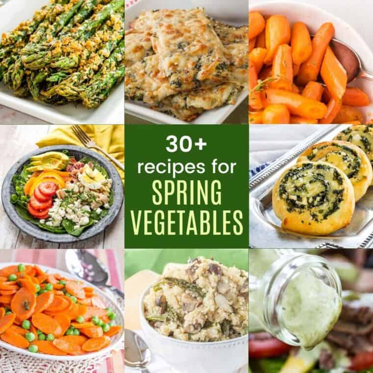 collage of pictures of parmesan crusted asparagus, spinach artichoke cauliflower bread sticks, honey glazed carrots, avocado ranch dressing, spinach pinwheels, spinach salad, peas and carrots, and asparagus mushroom quinoa