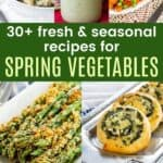 collage of pictures of avocado ranch dressing, peas and carrots, asparagus mushroom quinoa, parmesan asparagus, spinach feta pinwheels, honey roasted carrots, and cauliflower breadsticks