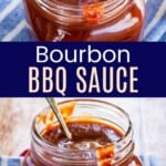 jar of bbq sauce with a spoon in it on a blue and white striped napkin