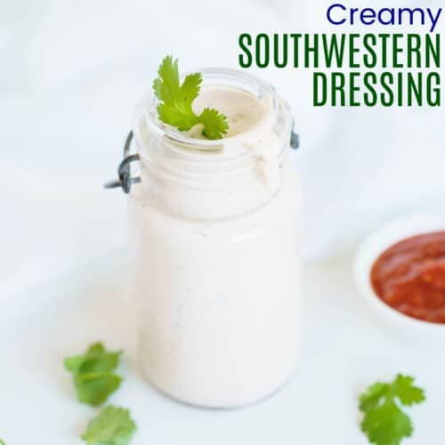 small bottle of southwestern dressing with a cilantro garnish on top