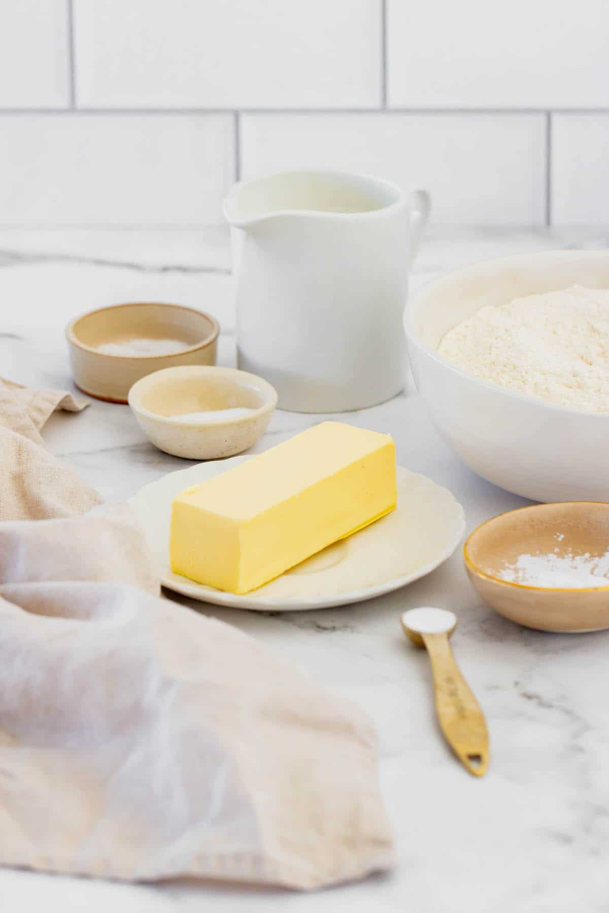 Cold Butter, Sugar, Salt, Gluten-Free Flour and the Rest of the Biscuit Ingredients