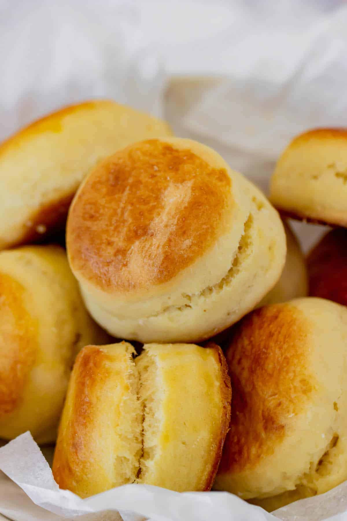 A Close-Up Shot of Freshly Baked Biscuits in a Basket