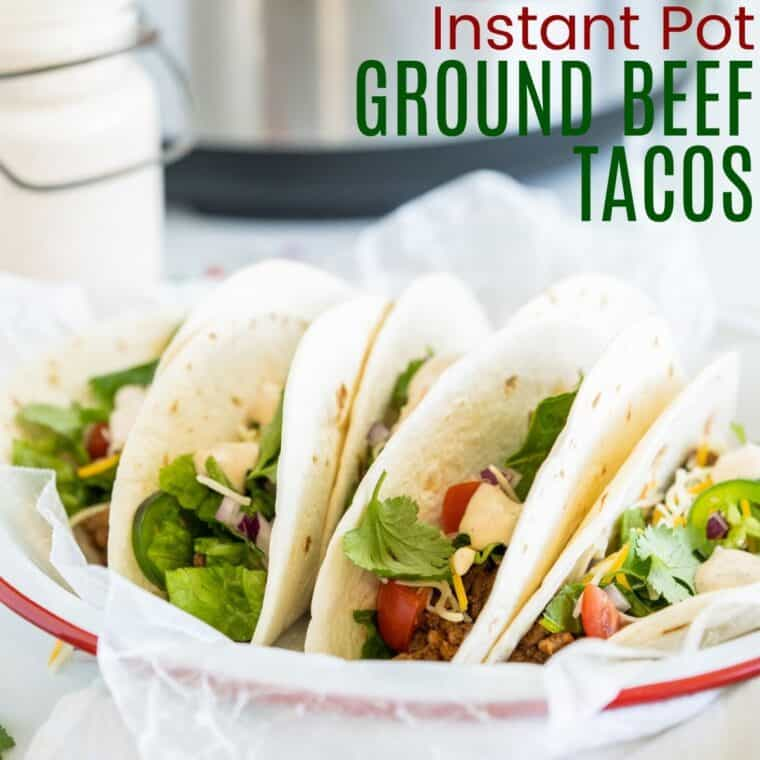 ground beef tacos on a plate in front of an Instant pot