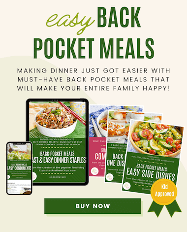 covers of recipe ebooks on different devices with a kid-approved seal and a buy now button