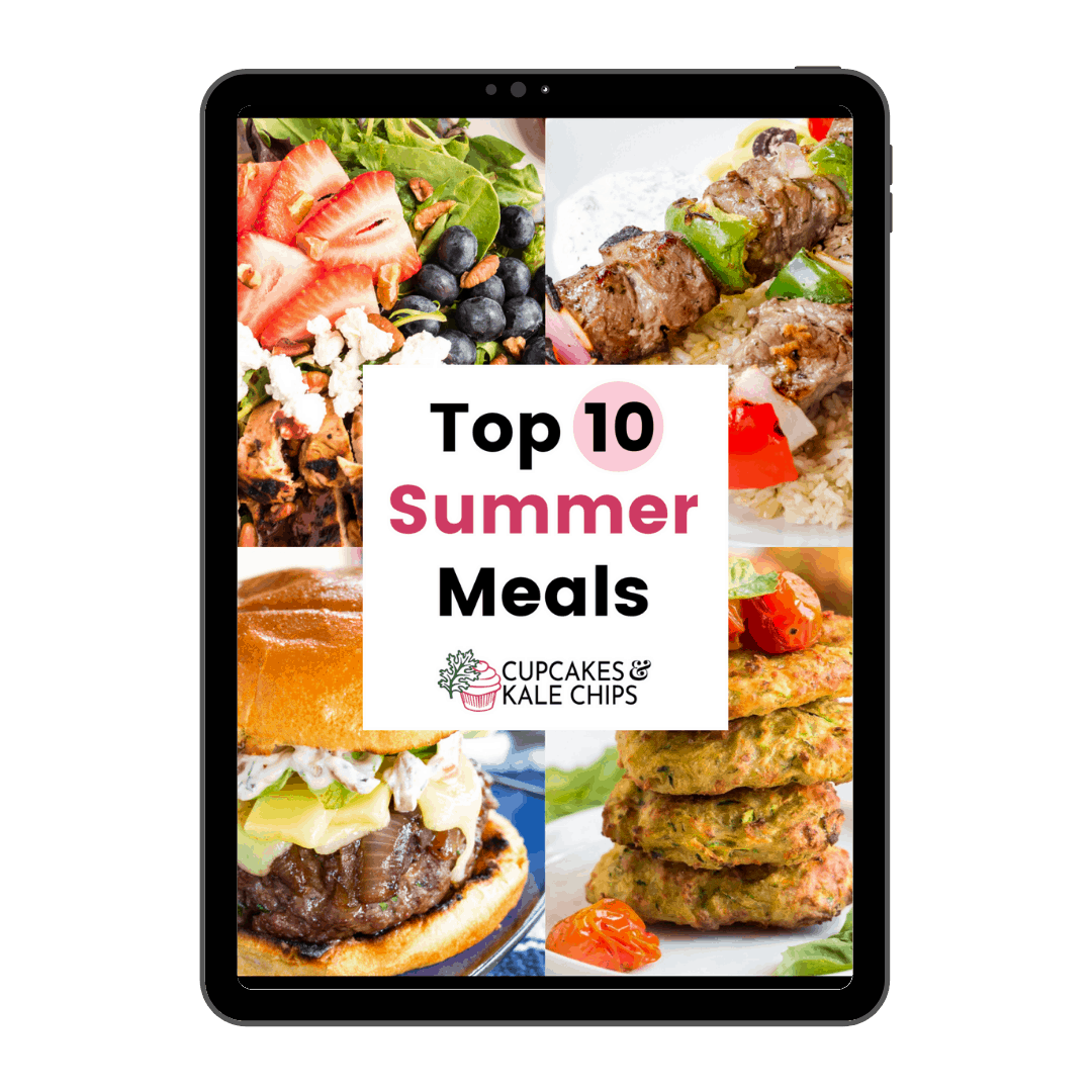 cover of Top 10 Summer Meals eBook on a tablet with pictures of salad, kabobs, burger, and fritters