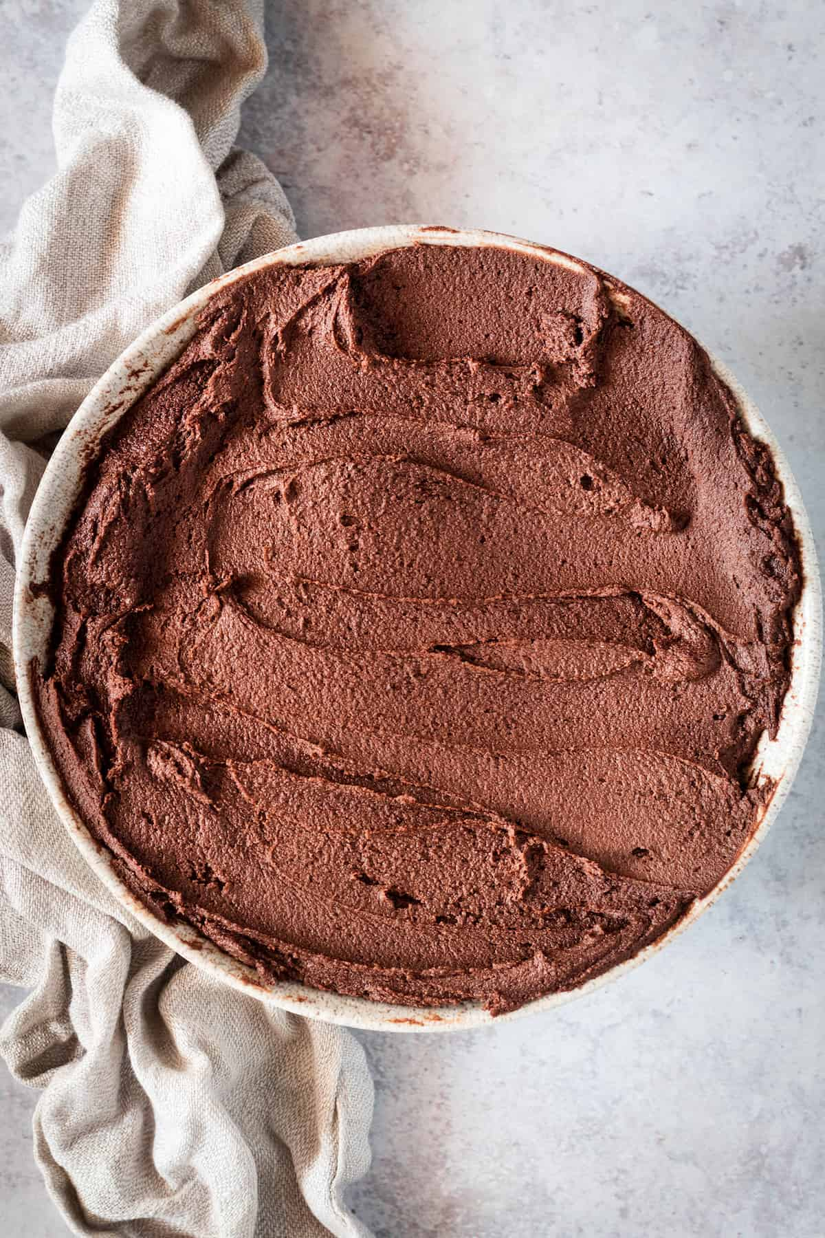 A Bowl Filled with Creamy Homemade Chocolate Frosting From Above