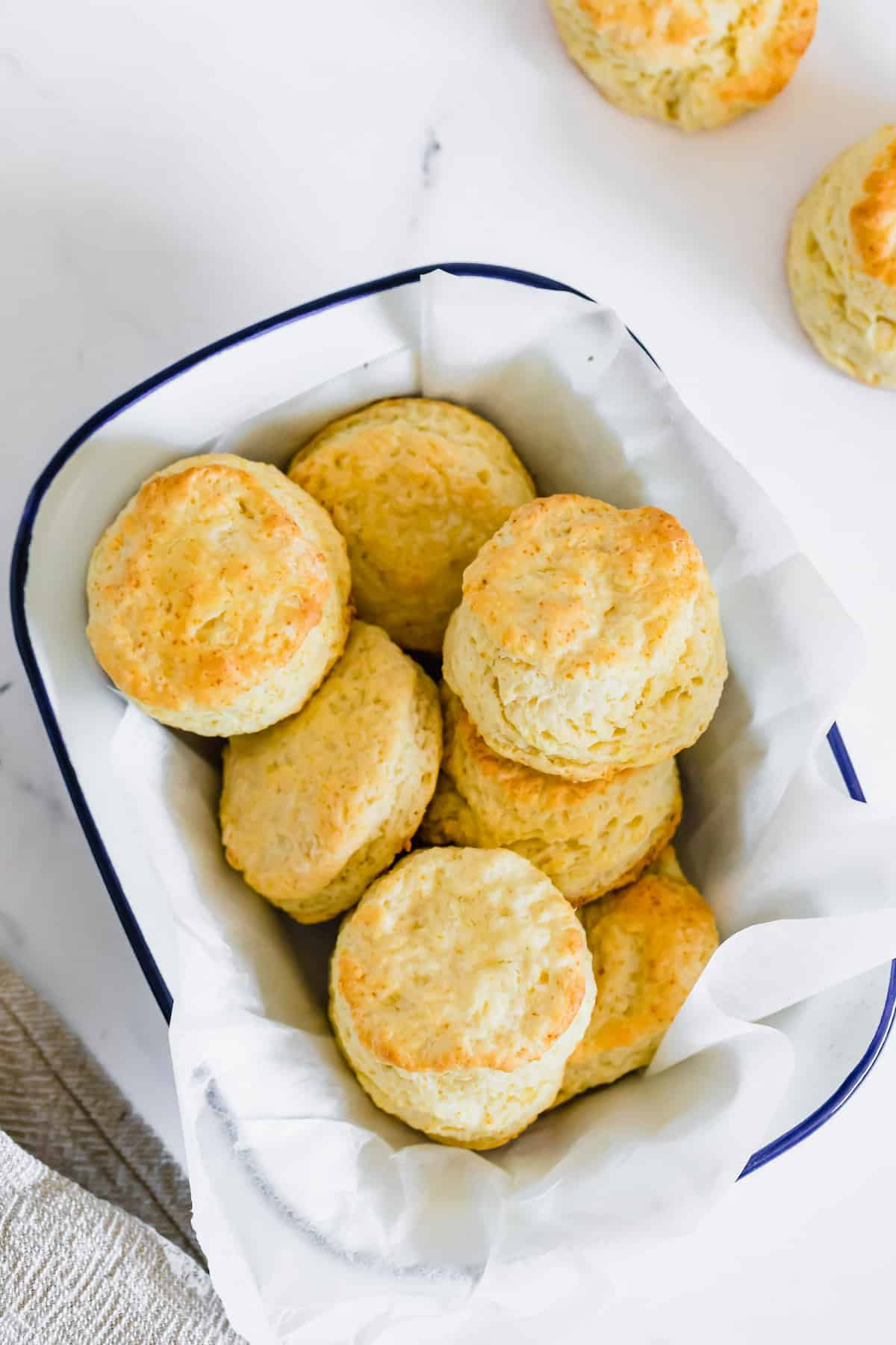 A Blue-Rimmed Serving Dish Full of Homemade Gluten-free Sweet Biscuits
