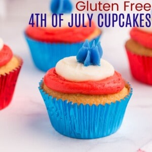 fourth of july cupcake with red and white piped layers of frosting and blue frosting piped in a star on top