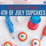 fourth of july cupcakes on a cake stand and more being decorated with red, white, and blue frosting in piping bags