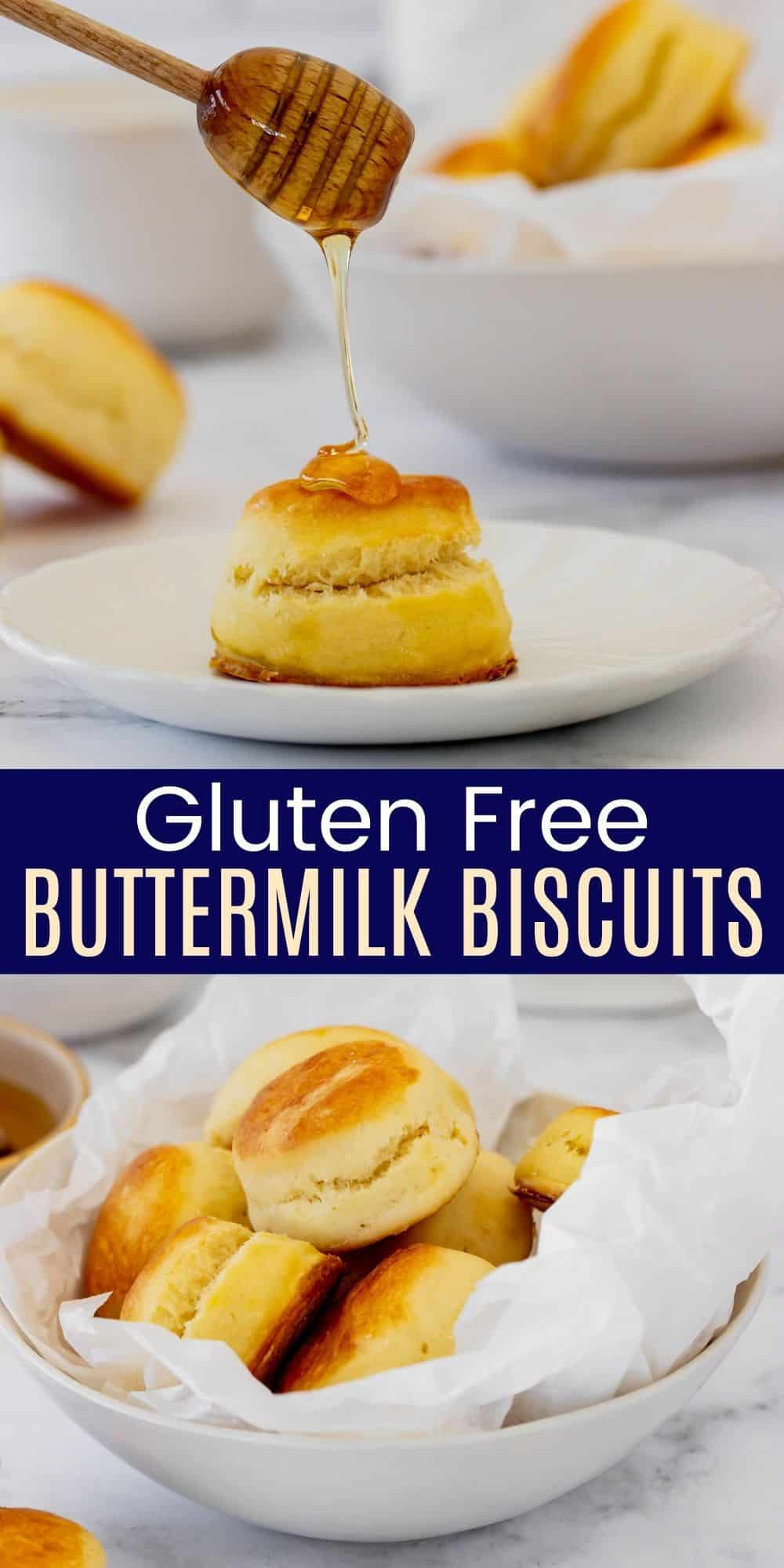 honey dripping onto a biscuit and a wax paper-lined bowl full of gluten free biscuits