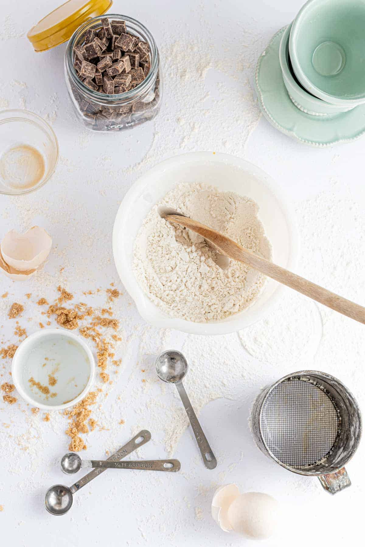 The Combined Dry Ingredients on a White Countertop in a White Bowl