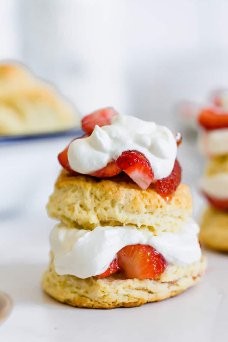 A Single Strawberry Shortcake Sitting on Top of a White Surface