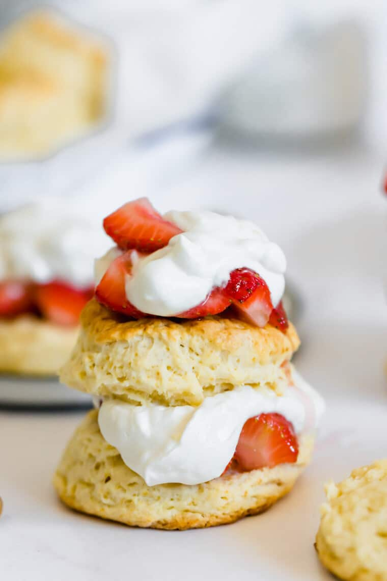 A Close-Up Shot of a Sweet Biscuit Strawberry Shortcake