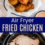 uncooked chicken pieces coated in flour in an air fryer basket and the cooked fried chicken in a bowl