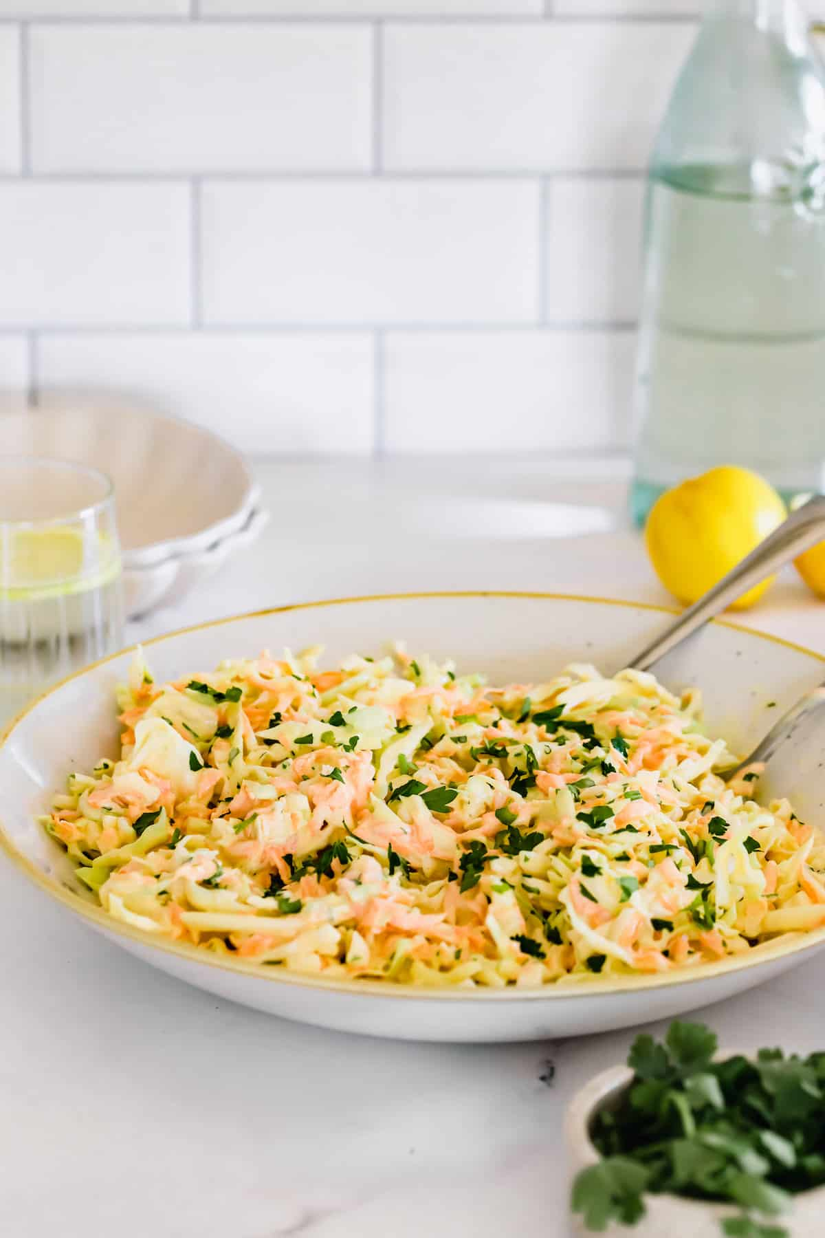 A Plate of Coleslaw on the Counter with a Bottle of Water Behind It