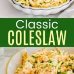 small dish of coleslaw with more in a serving bowl