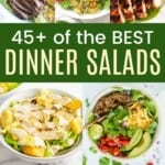 collage of grilled steak and asparagus salad, shrimp cobb salad, grilled chicken and berry salad, chicken caesar salad, taco salad, lobster cobb salad, and vietnamese pork meatball salad