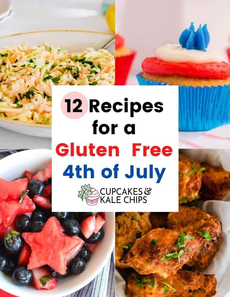 cover of 4th of July eBook with coleslaw, a red white and blue cupcakes, fruit salad, and fried chicken