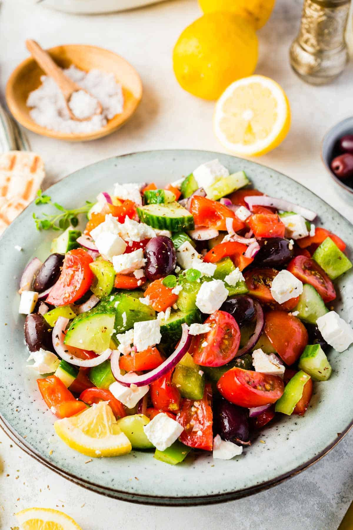 A Close-Up Shot of a Greek Salad Topped with Chunks of Feta Cheese