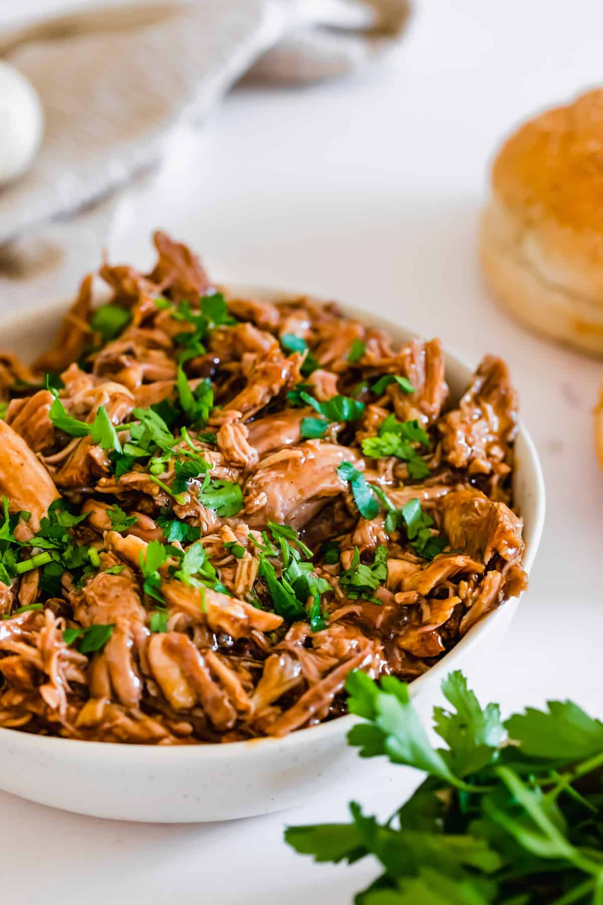 A Close-Up Shot of a Bowl of Homemade Pulled Pork