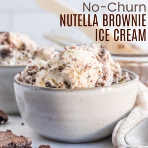 several scoops of nutella brownie ice cream in a bowl
