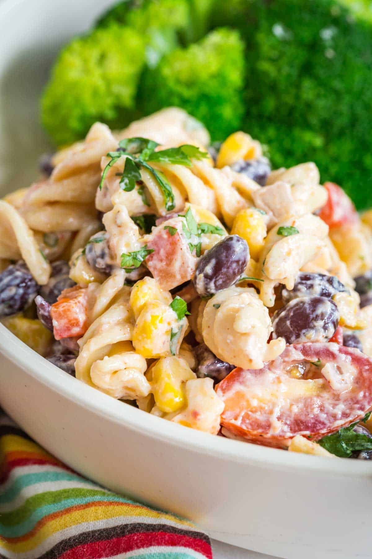 mexican pasta salad served on a white plate