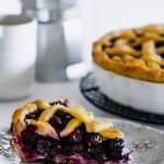 piece of gluten free blueberry pie on a plate