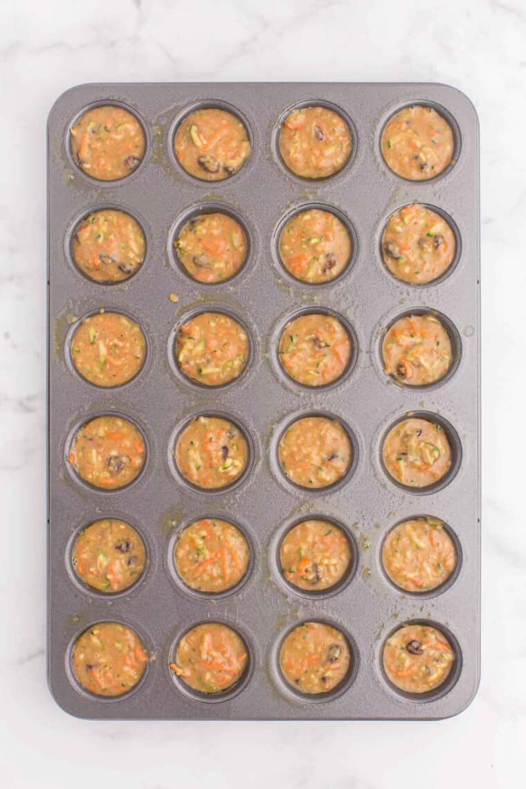 mini muffin tin filled with batter