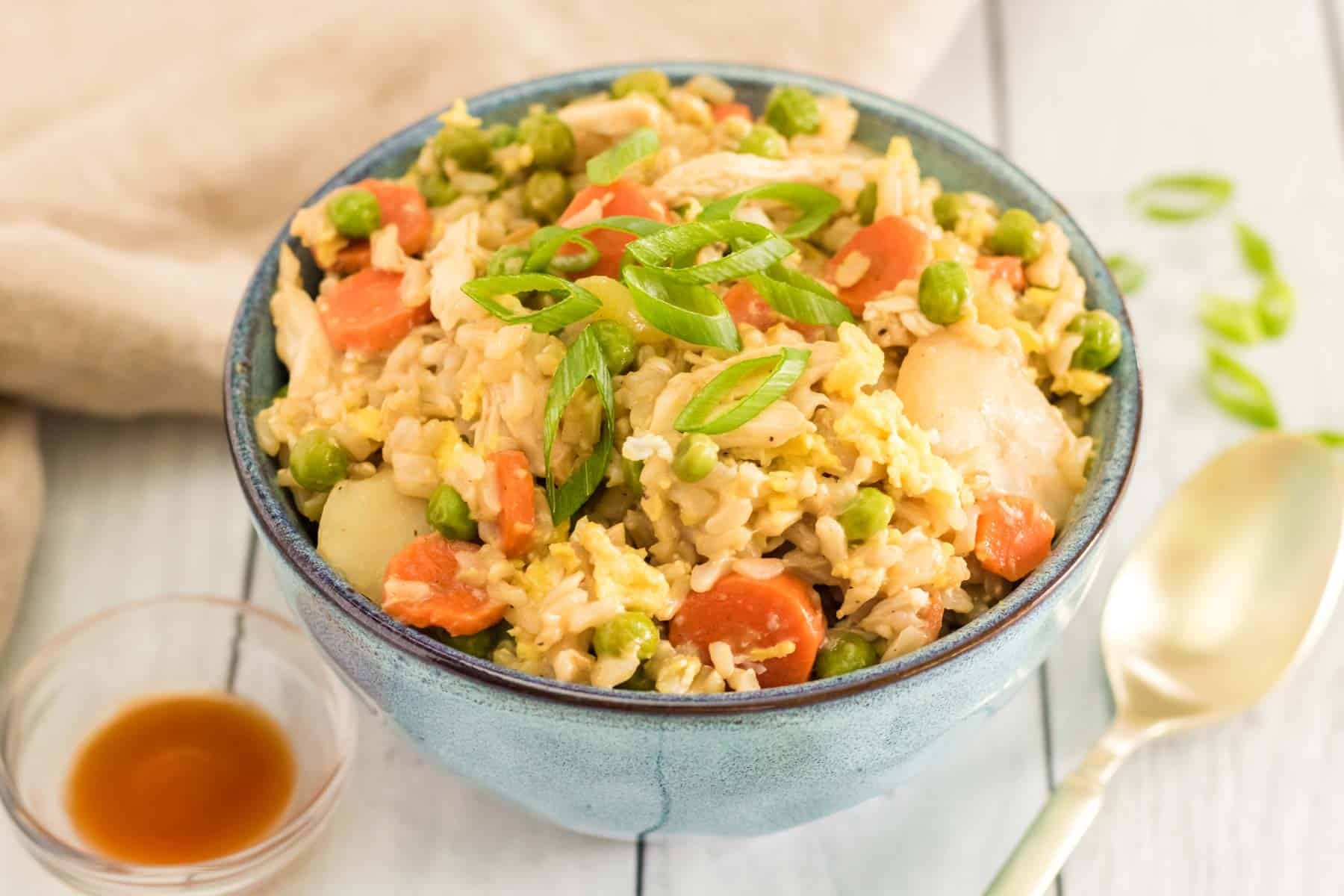 blue bowl with chicken fried rice topped with sliced scallions